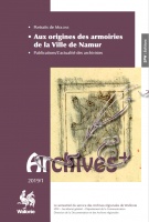 "Couverture de la publication ""Aux origines des armoiries de la Ville de Namur"""